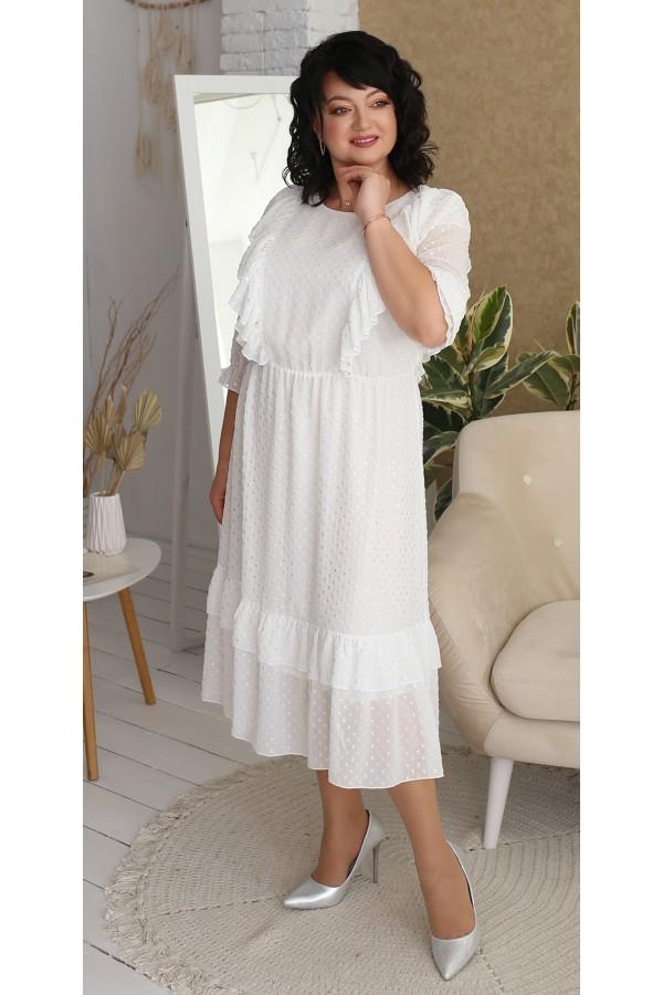 Платье шифоновое  нарядное большого размера LB218901 белое