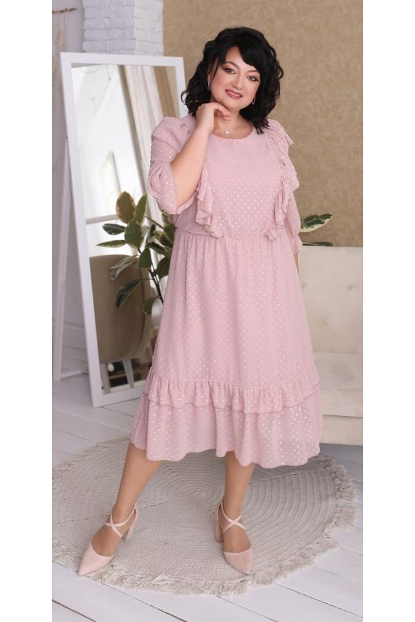 Платье шифоновое  нарядное большого размера  LB218902 пудра