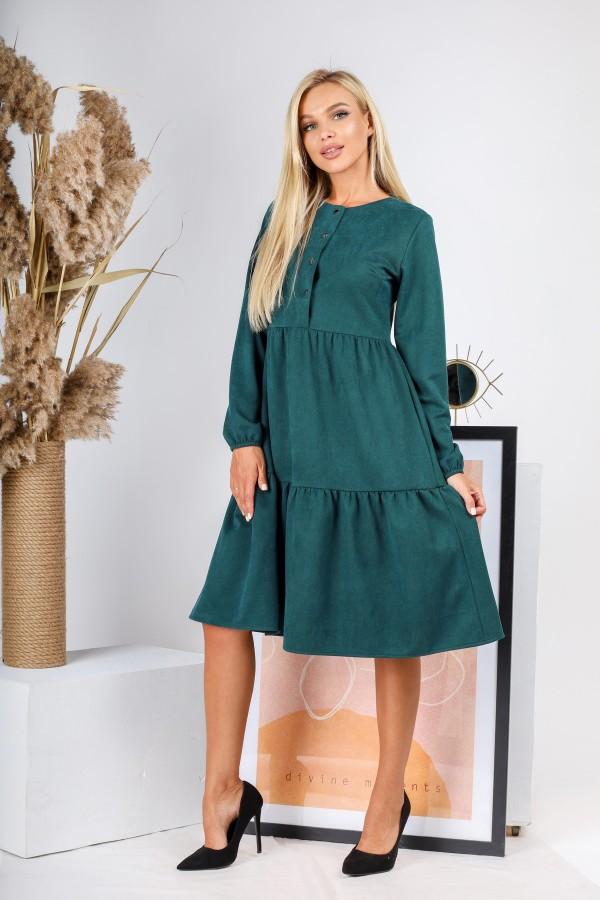 Плаття замшове  вільного крою AL88004 зелене