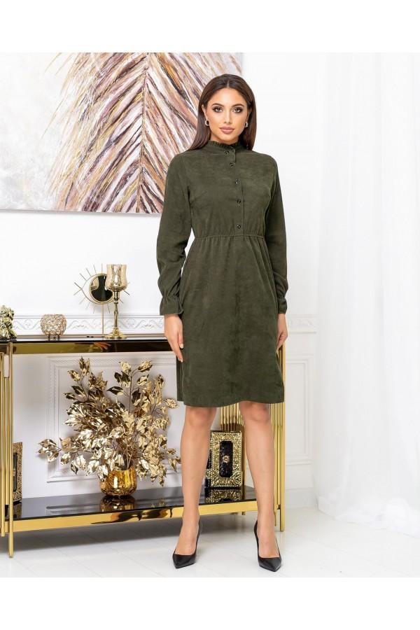 Платье вельветовое осень-зима 2021  AL88301 хаки