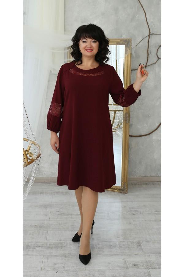 Замечательное нарядное платье трапеция LB223601 бордо