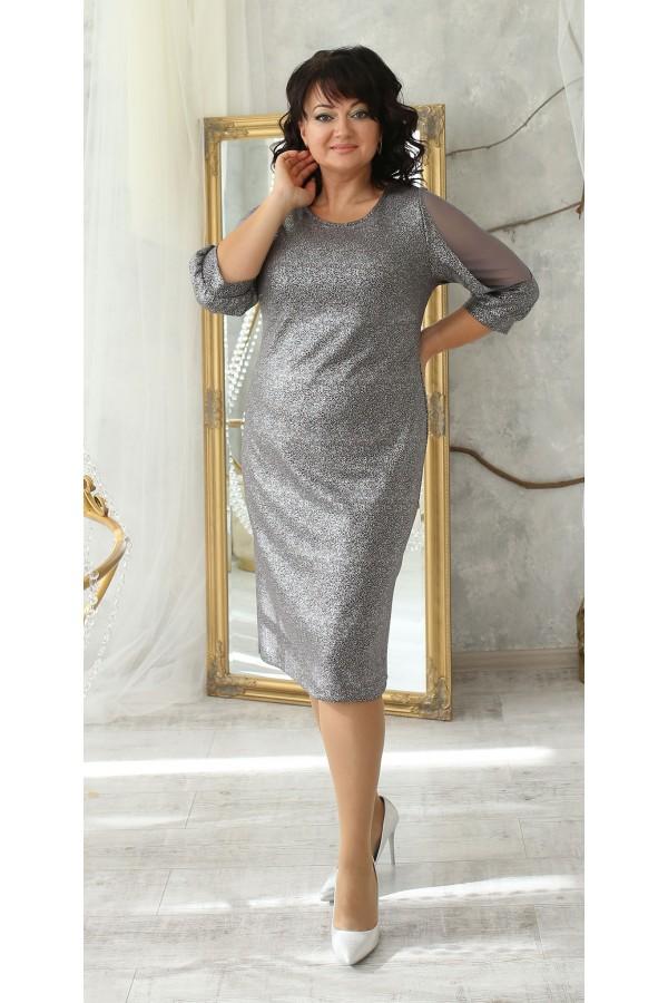 Шикарное платье сезон осень 2021 большого размера LB214805 стальной