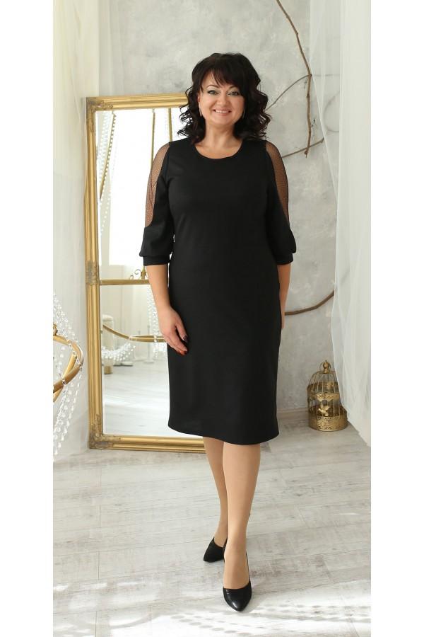 Шикарное платье сезон осень 2021 большого размера LB214803 черное
