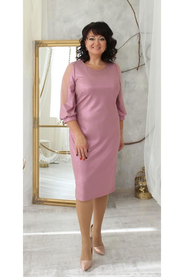 Шикарное платье сезон осень 2021 большого размера LB214804 розовое