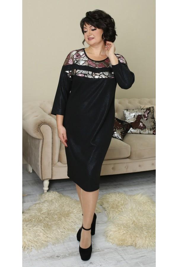 Платье с паєтками большого размера LB212702 черное