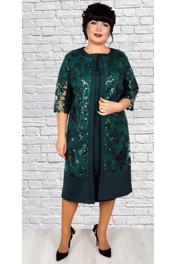 Роскошное платье  с кардиганом большого размера LB188804 зеленый