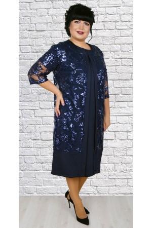 Чудова сукня з кардиганом великого розміру LB188803 синій