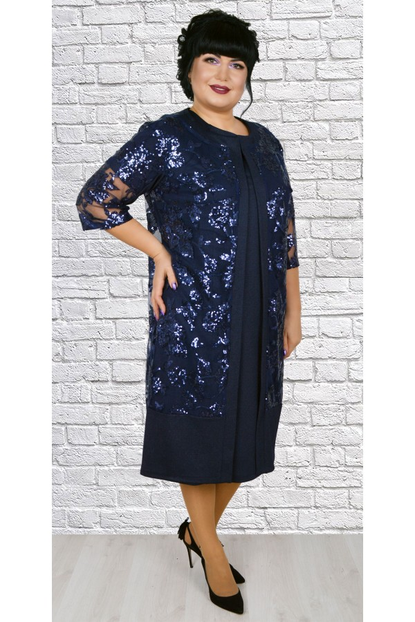 Роскошное платье  с кардиганом большого размера LB188803 синий