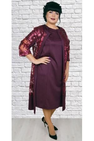 Чудова сукня з кардиганом великого розміру LB188802 бордо