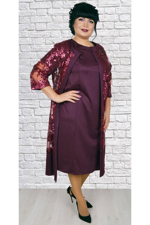 Роскошное платье  с кардиганом большого размера LB188802 бордо