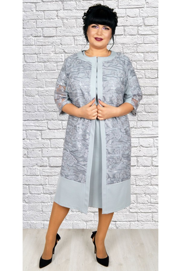 Роскошное платье  с кардиганом большого размера  LB188805 серый