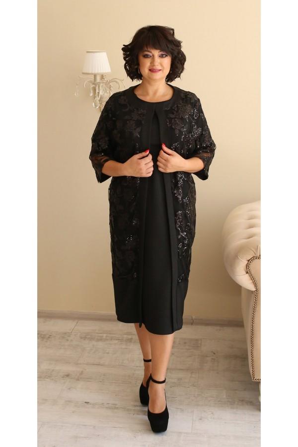Роскошное платье  с кардиганом большого размера LB188801 черный