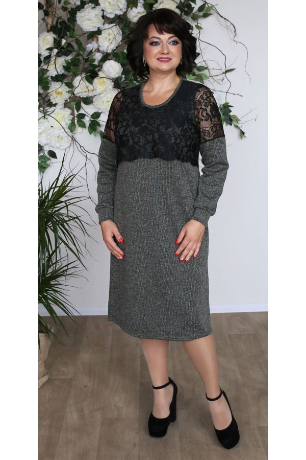 Платье з ангоры большого размера  LB208004 серое