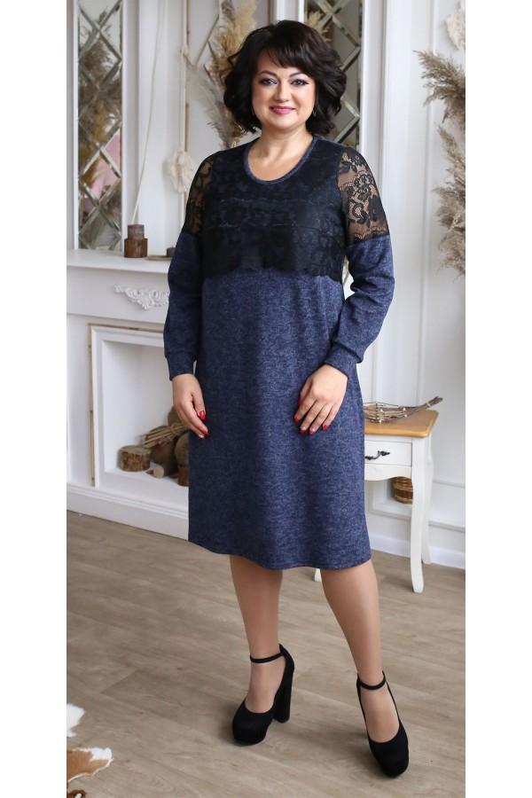 Сукня з ангори великого розміру  LB208002 синя