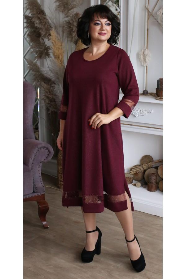 Платье  нарядное большого размера LB209201 бордо