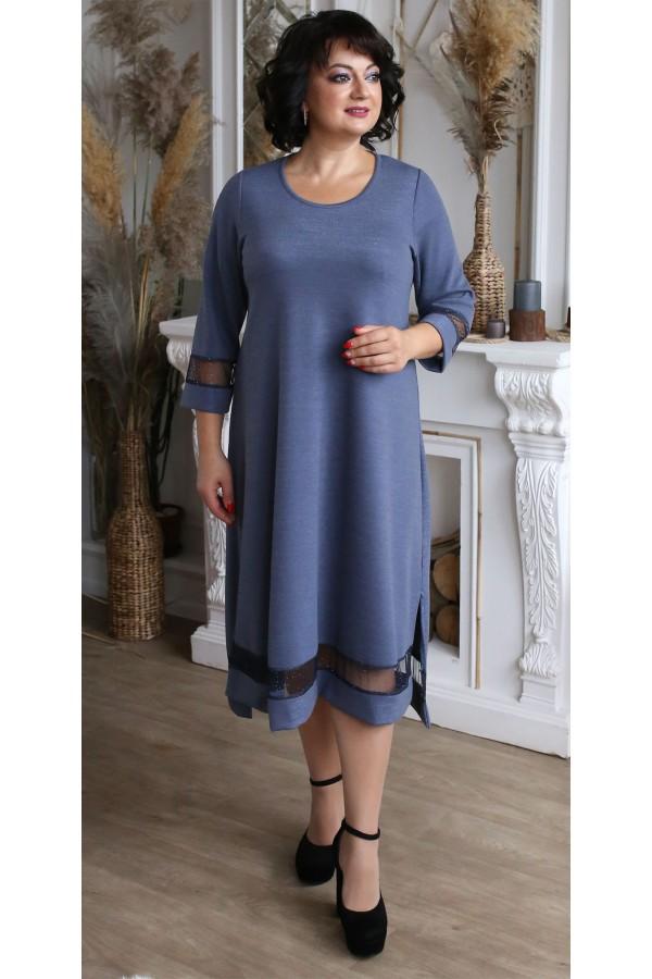 Платье  нарядное большого размера LB209203 сиреневый