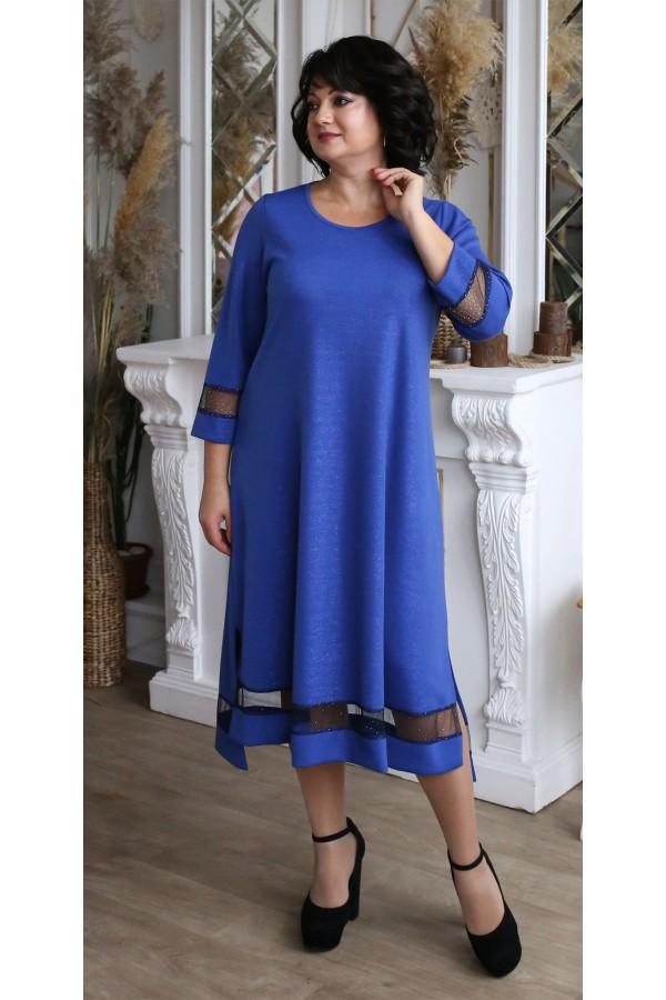 Платье  нарядное большого размера LB209202 синий