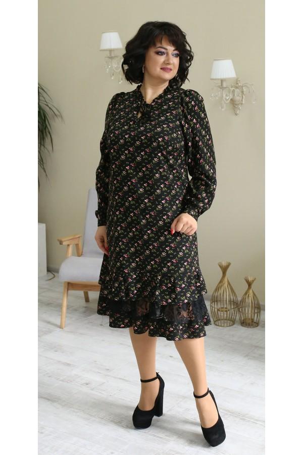 Платье в цветы большого размера LB210202 черное