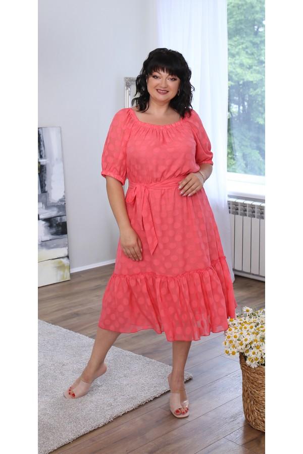 Шикарна сукня великого розміру LB219003 корал