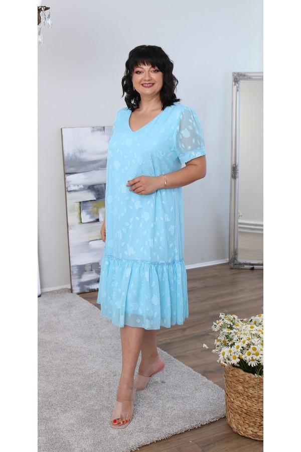 Легке літнє плаття великого розміру LB219503 блакитне