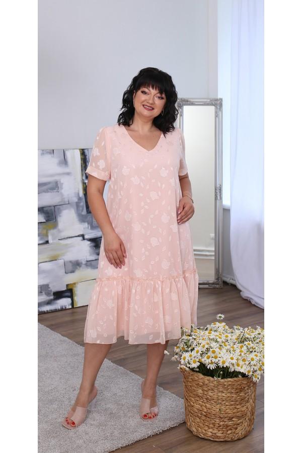 Легке літнє плаття великого розміру LB219502 пудра