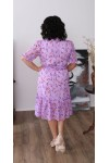 Нарядна шифонова сукня LB221002 квіткове бузкове