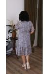 Нарядна шифонова сукня LB221001 квіткове сіре