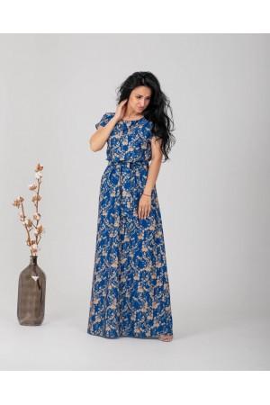 Плаття в пол великого розміру  NN363102 синє