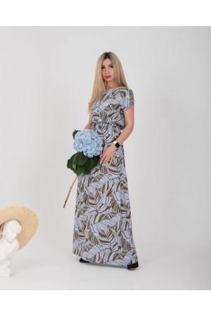 Плаття в пол великого розміру  NN36401 блакитне