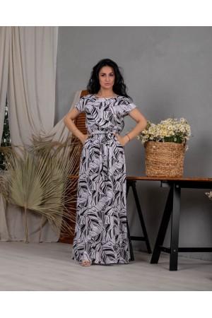 Плаття в пол великого розміру  NN36402  чорно-біле