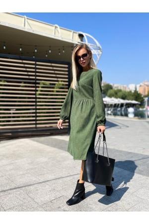 Плаття вельветове осінь-зима 2021 YM43802 зелене