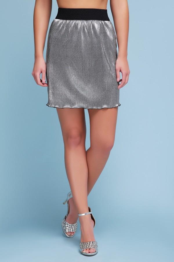 юбка Плиссе (короткая) GL42665 цвет черный металлик