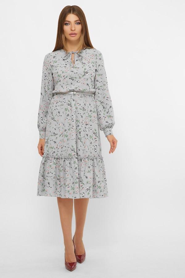 Плаття Агафія д/р GL60699 колір сірий з квіточками