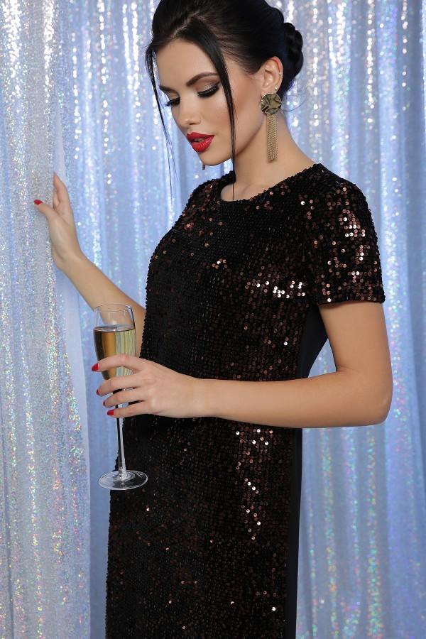 Платье Ираида к/р GL64104 цвет черный-бронза