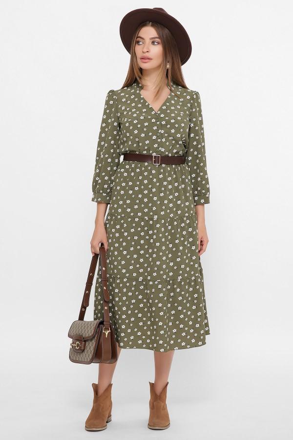 Плаття Медісон 3/4 GL61509 колір хакі квітами