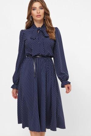 Сукня Адельфія д/р GL61179 колір синій з білим горошком