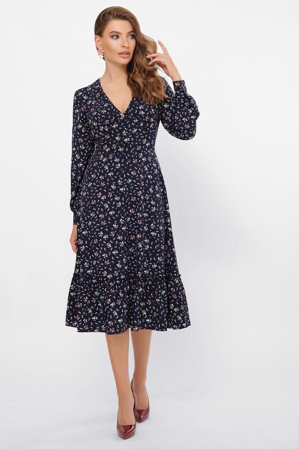 Сукня Даніта д/р GL61424 Колір Синій-букетик