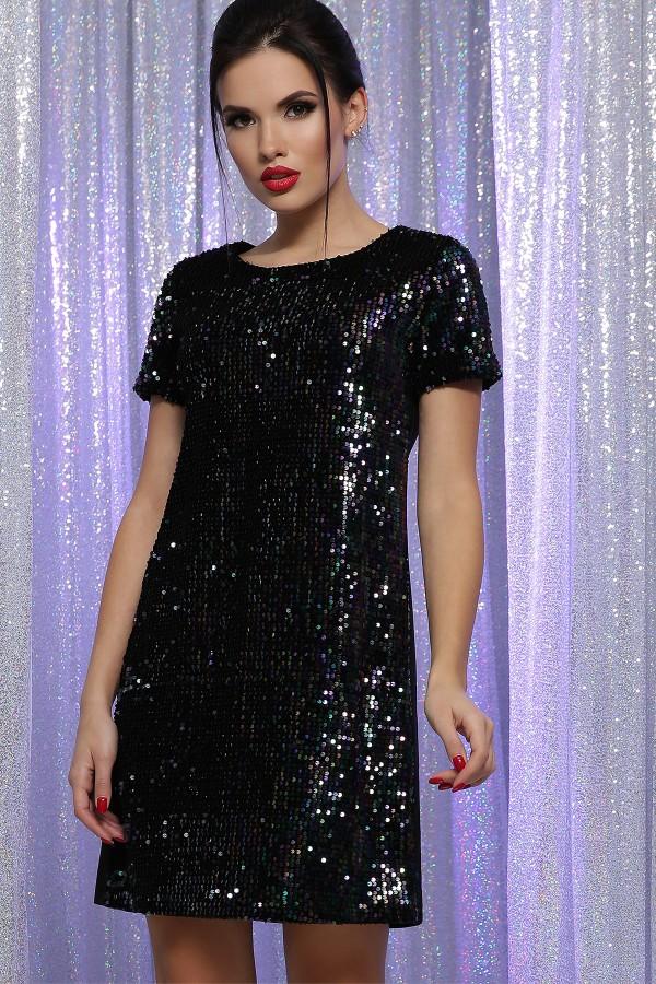 Платье Ираида к/р GL64106 цвет черный-хамелеон
