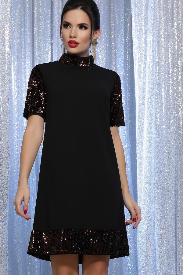 Плаття Бетті к/р GL64187 колір чорний-бронза