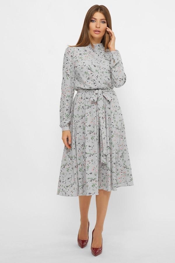 Плаття Ізольда д/р GL60702 колір сірий з квітами