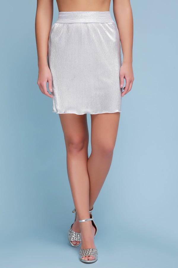 юбка Плиссе (короткая) GL42663 цвет белый-серебро