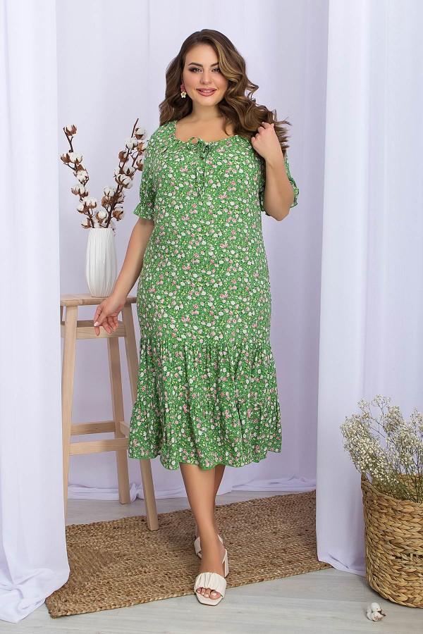 Плаття Пилея-Б к / р GL70480 колір зелений-рожевий. троянди