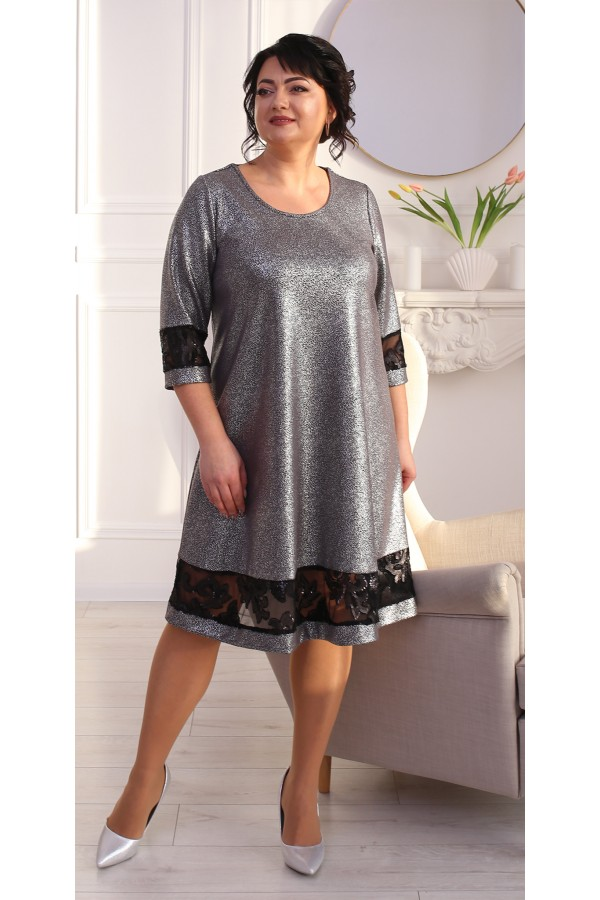 Святкова сукня трапеція LB212102 т.сірий
