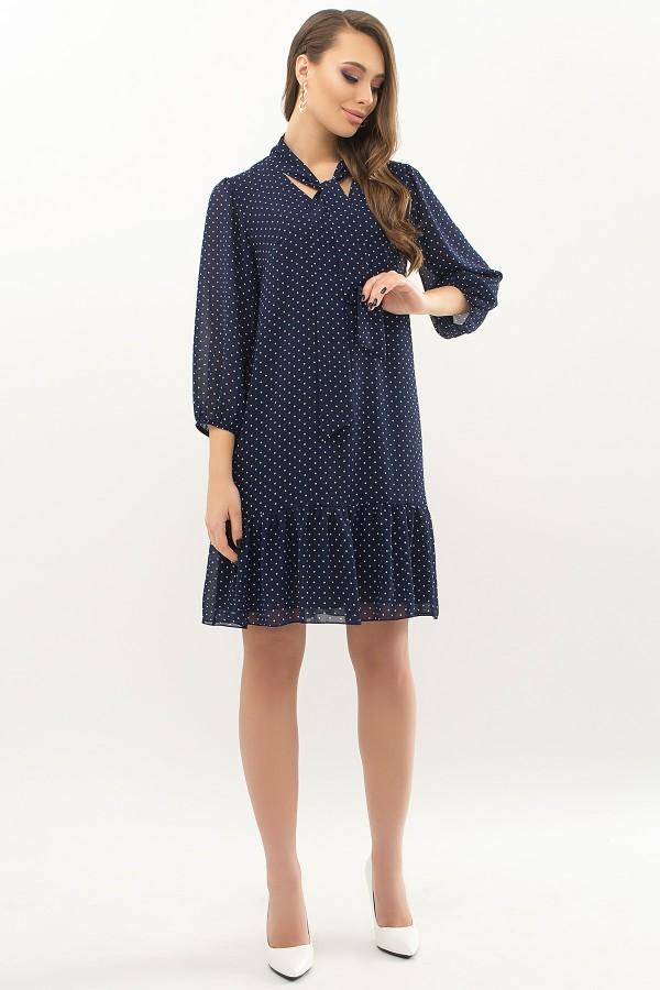 Сукня Маліка д / р GL66686 Колір Т. синій-білий м. горох