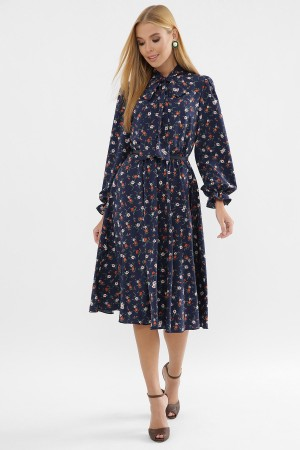 Платье Дельфия д/р GL63306 цвет синий-букетик