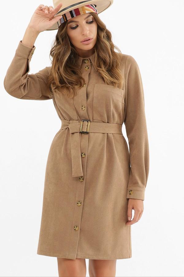 Тепла замшева сукня Реджина GL62520 капучіно
