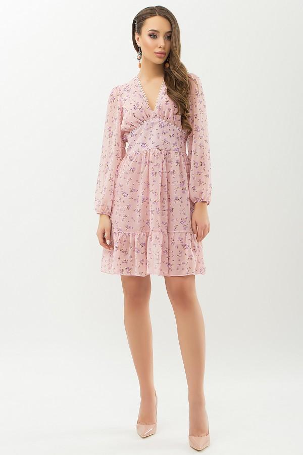 Сукня Бернарда д / р GL66459 колір пудра-бузковий квітка