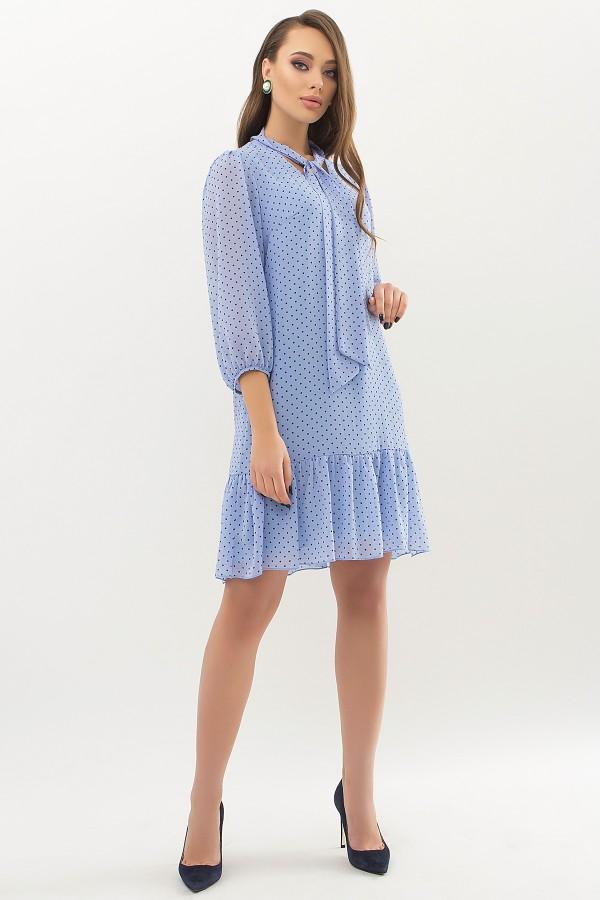 Сукня Маліка д / р GL66685 колір блакитний-Чорний М. горох