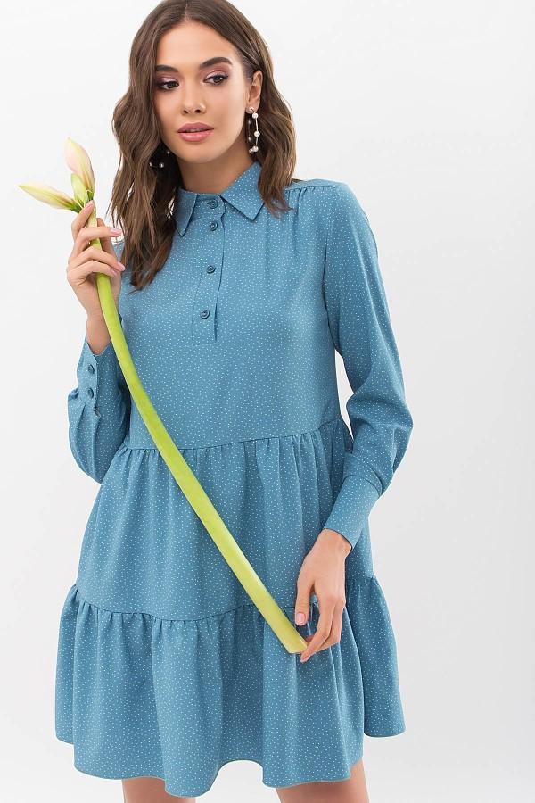 Сукня Наваль д / р GL67479 колір Бірюза-точка Біла