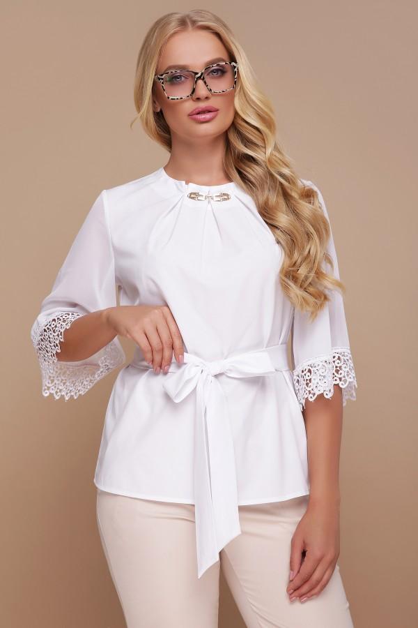 Біла блузка з кружевом Карла-Б GL691902